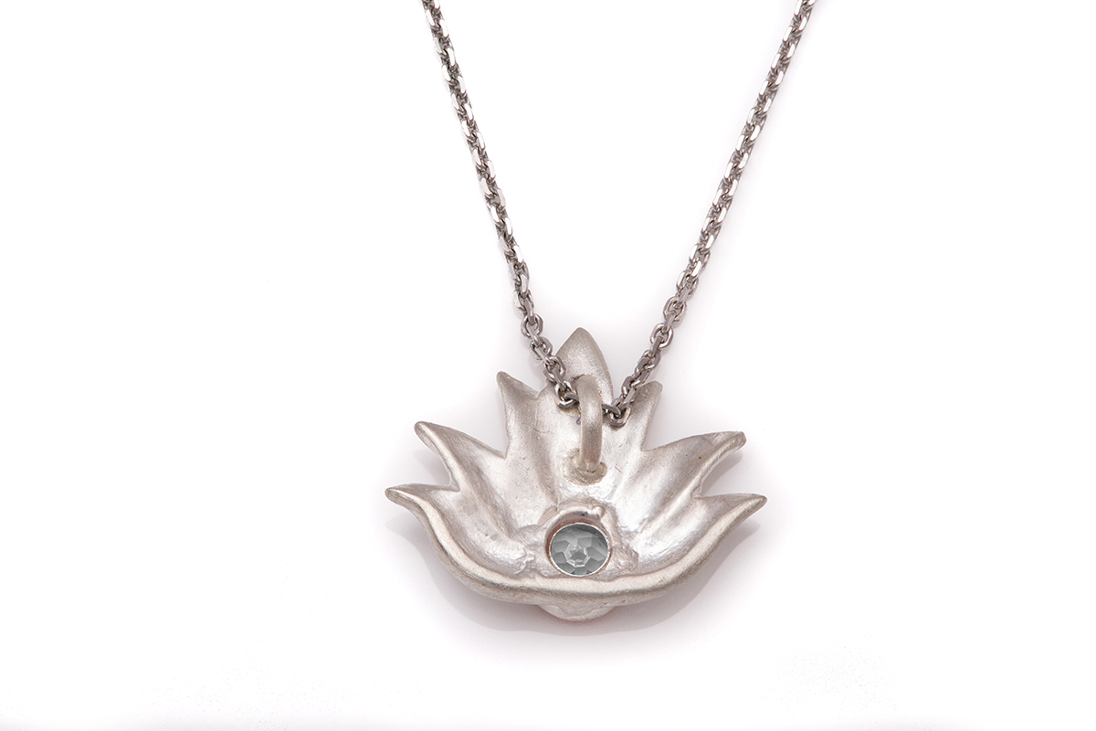 necklace silver sterling pendant om lotus